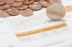 Münzen, Euro auf Rand- und Börseendiagramm Stockfoto