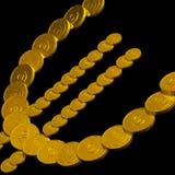 Münzen-Eurosymbol, das europäische Währung zeigt Stockfoto