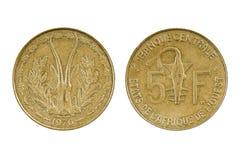 Münzen-Französisch-Westafrikas - Togo Stockbild