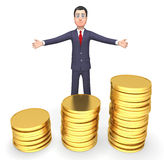 Münzen-Geschäftsmann Means Cash Investment und Unternehmer-Wiedergabe 3d Lizenzfreie Stockfotografie