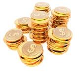 Münzen getrennt auf einem Weiß Stockbilder