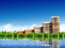 Münzen getrennt auf natürlichem Hintergrund Stockfoto