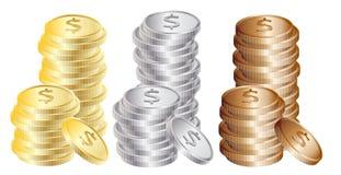 Münzen: Gold, Silber, Bronze Lizenzfreies Stockbild