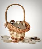 Münzen im bascket lizenzfreie stockfotografie