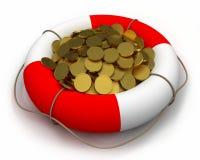 Münzen im Lebensretter. Lizenzfreie Stockfotografie