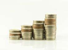 Münzen-Jobstepp-siamesischer Baht Lizenzfreie Stockbilder