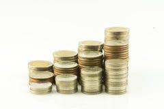 Münzen-Jobstepp-siamesischer Baht Stockfotografie