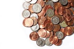 Münzen, Nickel und Groschen Stockfoto