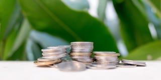 Münzen stapeln auf natürlichem Hintergrund Stockbilder
