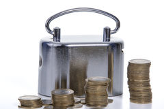 Münzen- u. Geldkasten lizenzfreies stockfoto