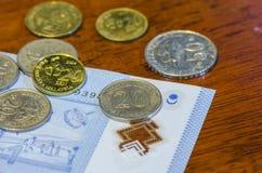 Münzen und Banknoten des malaysischen Ringgit Stockfoto