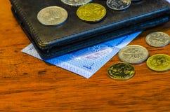 Münzen und Banknoten des malaysischen Ringgit Lizenzfreies Stockbild