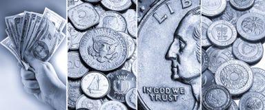 Münzen und Banknoten - internationale Währung Stockfoto