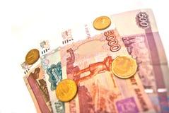 Münzen und Banknoten von Russland Stockfoto
