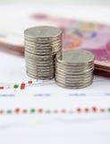 Münzen und chinesische Währung auf Diagrammgraphik Stockbilder