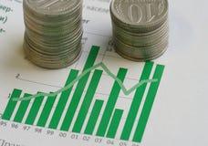 Münzen und Diagramm Lizenzfreie Stockfotos
