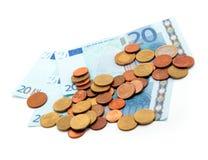 Münzen und Euro Lizenzfreies Stockbild