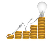 Münzen und Glühlampeabbildungauslegung Stockfotografie