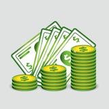 Münzen und Papiergeldvektor Stockbilder