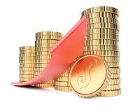 Münzen und Pfeil Lizenzfreie Stockbilder