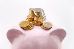 Münzen und Sparschwein Stockfotos