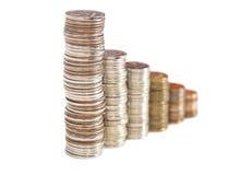 Münzen vereinbart als Diagramm Stockfoto