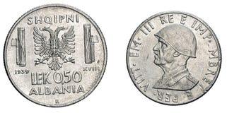 Münzen-1939 Vittorio Emanueles III fünfzig 50 Cents LEK Albania Colonys acmonital Königreich von Italien, Zweiter Weltkrieg Stockbild