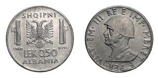 Münzen-1940 Vittorio Emanueles III fünfzig 50 Cents LEK Albania Colonys acmonital Königreich von Italien, Zweiter Weltkrieg Stockfotografie
