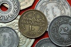 Münzen von Ägypten Stockfotos