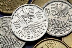Münzen von Österreich Stockfotos