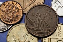 Münzen von Belgien Stockfotografie