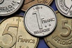 Münzen von Belgien Stockfotos