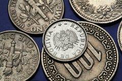 Münzen von Bolivien Stockfotos