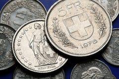 Münzen von der Schweiz Lizenzfreies Stockbild