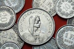 Münzen von der Schweiz Alpine Hirte Stockfotos