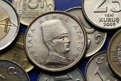 Münzen von der Türkei Skulptur von Mustafa Kemal Ataturk Lizenzfreies Stockfoto