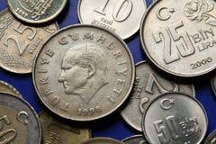 Münzen von der Türkei Skulptur von Mustafa Kemal Ataturk Lizenzfreie Stockbilder