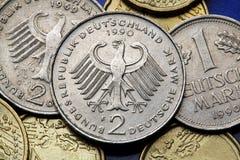 Münzen von Deutschland Stockfoto