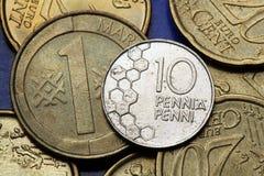 Münzen von Finnland Stockfotografie