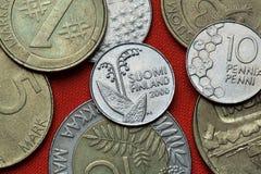 Münzen von Finnland stockbild