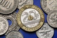 Münzen von Frankreich Lizenzfreies Stockfoto