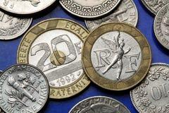 Münzen von Frankreich Stockfotografie