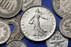Münzen von Frankreich Lizenzfreie Stockfotos