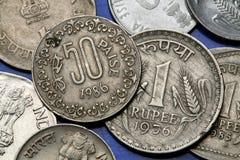 Münzen von Indien Stockbilder