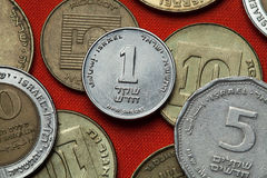Münzen von Israel stockbilder