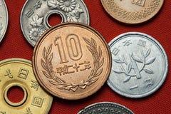 Münzen von Japan stockfotografie