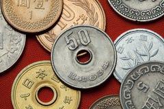 Münzen von Japan Stockbild