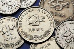 Münzen von Kroatien Lizenzfreie Stockfotos
