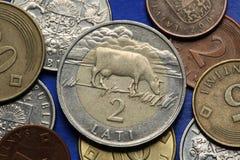 Münzen von Lettland stockfotografie