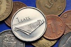 Münzen von Lettland stockbild